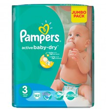 Подгузники Pampers Active Baby - Dry Midi (6-10 кг), 82 шт.
