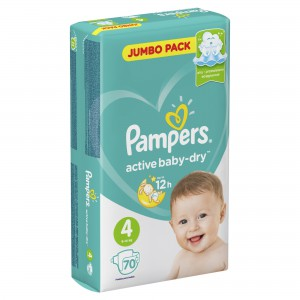 Подгузники Pampers Active Baby - Dry Maxi (9-14 кг), 70 шт