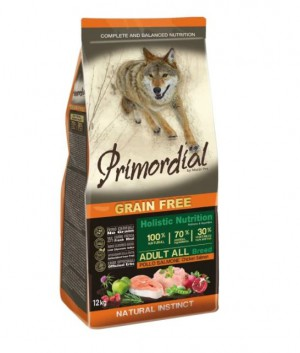Корм для собак Primordial Adult All Breed Курица, лосось, 12 кг